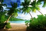 sunset on the beach Takamaka, Mahe island, Seychelles - 174980139