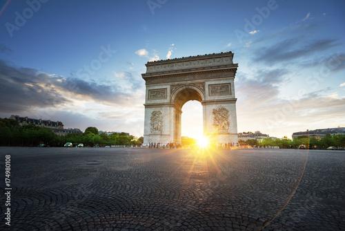 Triumphal Arch at sunset, Paris, France Poster