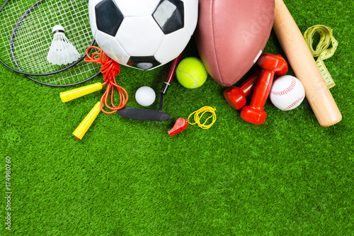 Fotobehang Basketbal Various sport tools on grass