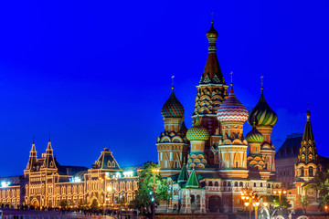 Night view of Saint Basil s Cathedral in Moscow. Russia