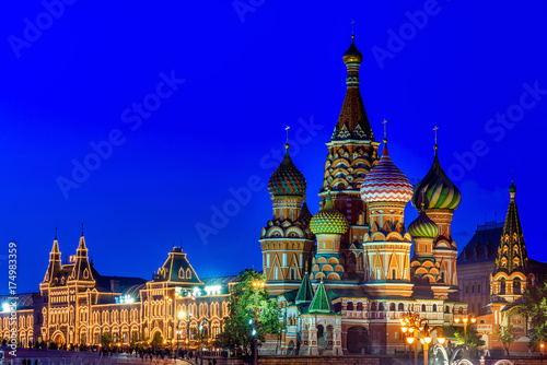 Fotobehang Moskou Night view of Saint Basil s Cathedral in Moscow. Russia