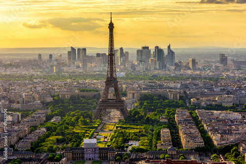 Foto op Canvas Parijs Skyline of Paris with Eiffel Tower at sunset in Paris, France