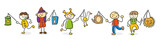 Strichfiguren Kinder bunt Martinstag Laternen - 174984330