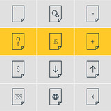 Vector Illustration Of 12 File Icons. Editable Pack Of Remove, Upload, File And Other Elements. - 174988721