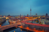 Aerial view of Berlin at night: Spree river, museum island, alexanderplatz and tv tower, Germany - 174989797