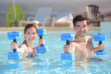 workout in the swimming pool - 174995965