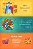 Spain banner set template, cartoon style - 174999358