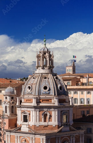 Rome center skyline with renaissance dome, Quirinal Hill Presidential Palace and Poster