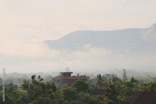 Foto op Canvas Wit Mountains and morning mist landscape background