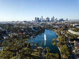 Drone view on Echo Park, Los Angeles