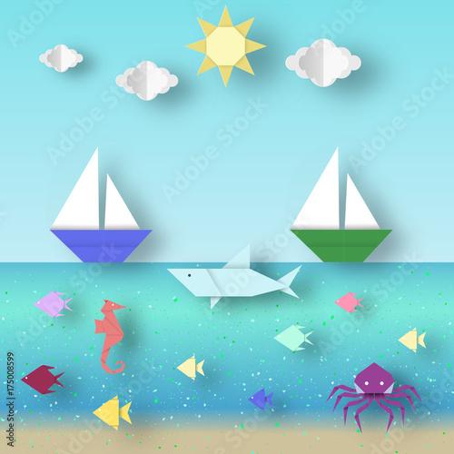 Foto op Canvas Groene koraal Landscape with Ship on the Horizon.