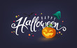 Happy Halloween calligraphy. banners party invitation.Vector illustration.