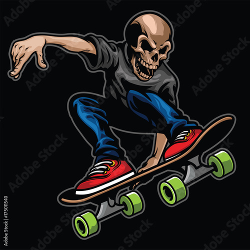 Fotobehang Skateboard skull riding skateboard and doing the stunt