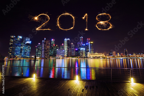 2018 Happy new year firework Sparkle with central business district building of  Poster