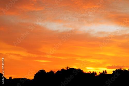 In de dag Oranje eclat 幻想的な秋の朝焼け