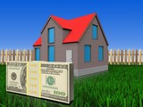 3d money over lawn and fence - 175015326