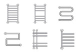 Realistic Heated towel rail or  heating battery radiator icons set. Vector illustration. - 175016935