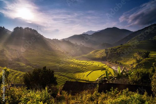 Foto op Aluminium Rijstvelden ​Landscape of Rice fields on terraced at the sunset time of Mu Cang Chai District at sunrise time, YenBai province, Northwest Vietnam