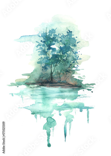 Watercolor blue landscape, river bank, lake, with trees and bushes against the background of Night, morning. In vintage illustration. Maple, aspen, poplar on the river bank, reflected in the water. © helgafo