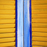 yellow window shutters closeup, colorful background - 175021781