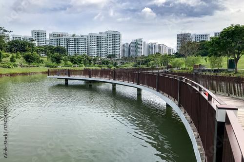 bridge and park at Singapore Public Housing Apartments in Punggol District, Singapore Poster