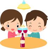 自宅でワインを飲む若い男女 - 175026314
