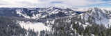 Helicopter Over Winter Mountian Sports Destination in Pacific Northwest Forest - 175026364