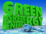 3d green sign with energy