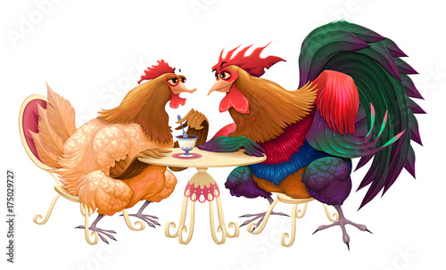 Staande foto Kinderkamer Hen and rooster in a cafe