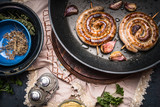 Traditional roasted sausage in frying pan, top view. German food concept - 175029940