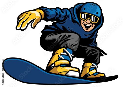 happy man playing snowboard