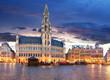 Quadro Brussels - Grand place at night, nobody, Belgium