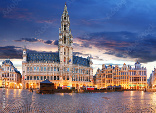 Foto op Canvas Brussel Brussels - Grand place at night, nobody, Belgium