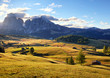 Quadro Alps sunrise green mountain panorama landscape, Alpe di Siusi