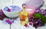 Spa setting with lilac flowers - 175034178