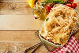 Freshly made dish of Italian vegetable lasagne