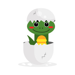 Cute newborn green dinosaur character, funny reptile in egg cartoon vector Illustration