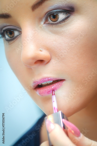 Plakát Healthy Spa: Young Beautiful Woman Having Permanent Make-up on her Lips