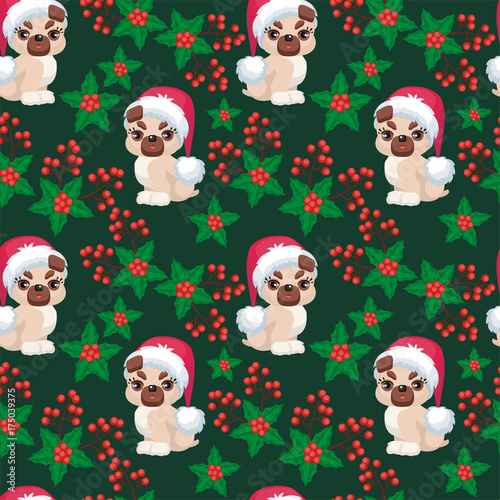 Christmas seamless pattern with the image of little cute puppies in the hat of Santa Claus. Children's vector background.