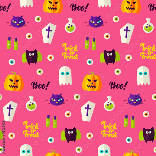 Cotton fabric Halloween Boo Seamless Pattern