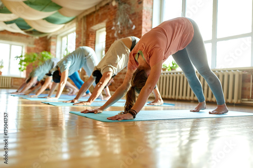 Fototapeta group of people doing yoga dog pose at studio