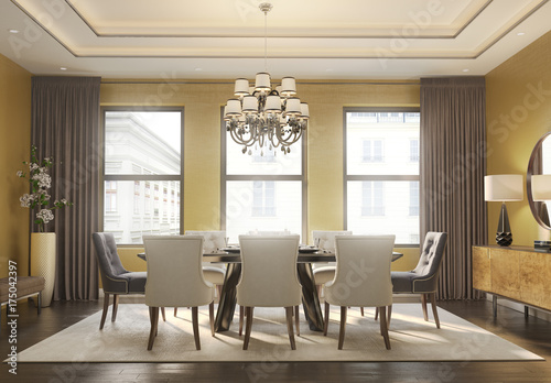New York inspired dining room at daytime