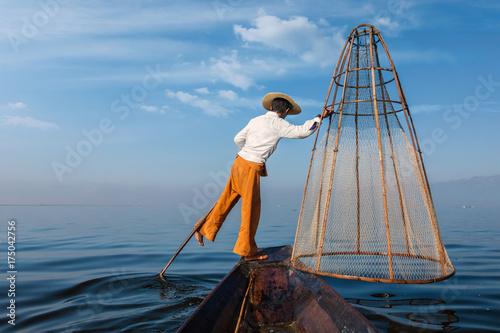 Traditional Burmese fisherman at Inle lake, Myanmar Poster