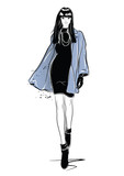 Fashion woman in sketch style with black cat. - 175046561