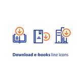 Archive access, book download, vector line icon - 175047133