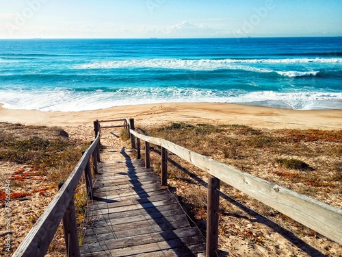 Wooden stairs over sand dune on Australian ocean beach - 175050946