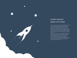 Business startup concept vector background with space for text or infographics. Rocket flying to space from clouds, technology innovation, new business symbol. - 175052973