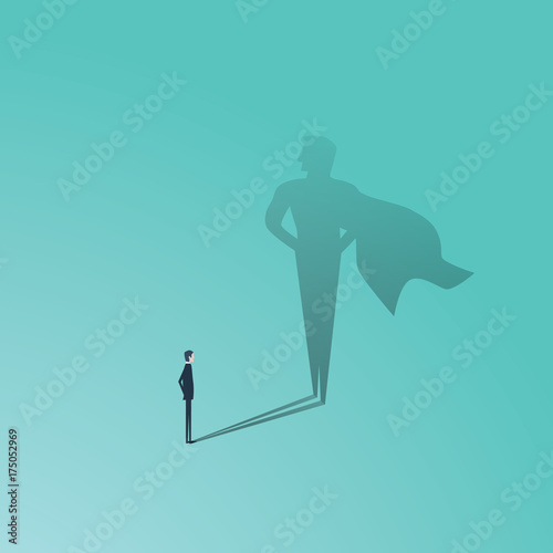 Fototapeta Business ambition and success vector concept. Businessman with superhero shadow as symbol of power, leadership, courage, bravery.