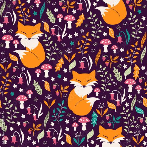 fototapeta na ścianę Seamless Pattern with Flowers, Foxes and Mushrooms.