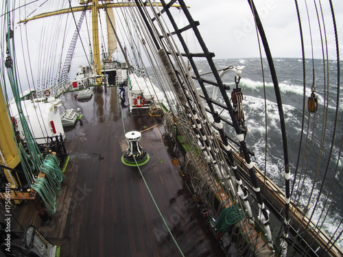 Aluminium Zeilen wild weather at sea on an old tallship, traditional sailing vessel